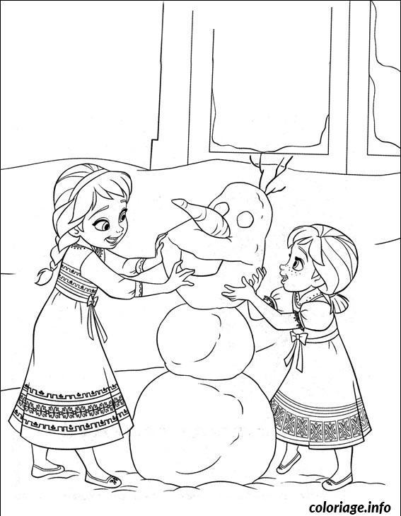 Dessin les bonhommes de neige elsa anna Coloriage Gratuit à Imprimer