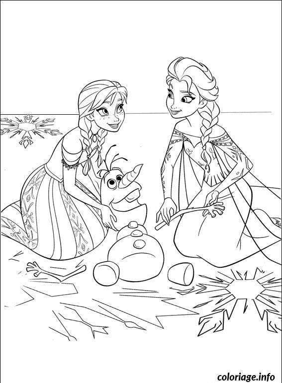Coloriage Anna Elsa Avec Olaf Dessin