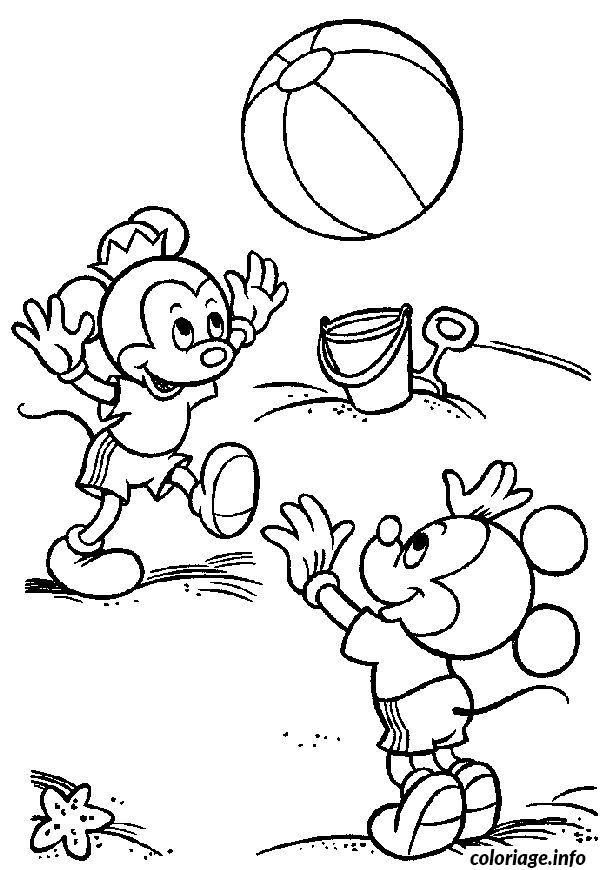 Coloriage les enfants de mickey a la plage dessin - Coloriage plage ...