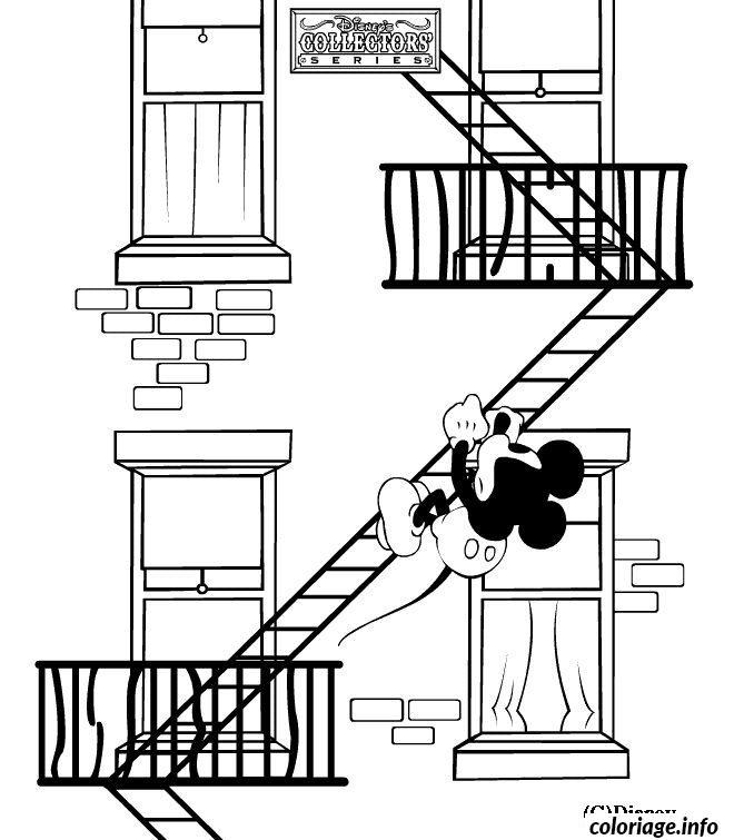 Dessin Mickey dans les escaliers de secours Coloriage Gratuit à Imprimer