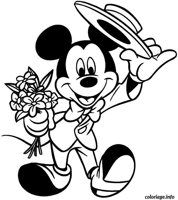 Dessin Mickey va a un rendez vous galant Coloriage Gratuit à Imprimer