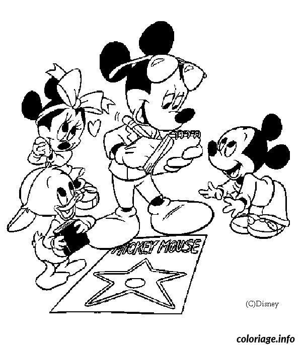 Dessin Mickey avec ses enfants Coloriage Gratuit à Imprimer