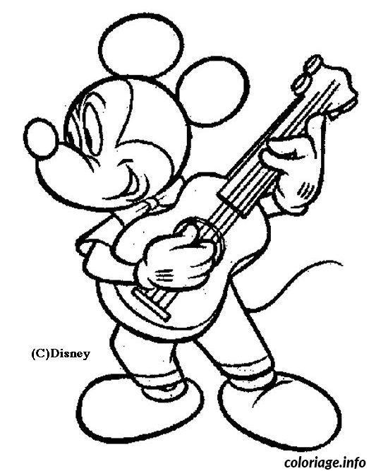 Coloriage mickey joue de la guitare avec passion dessin - Coloriage de mickey gratuit ...