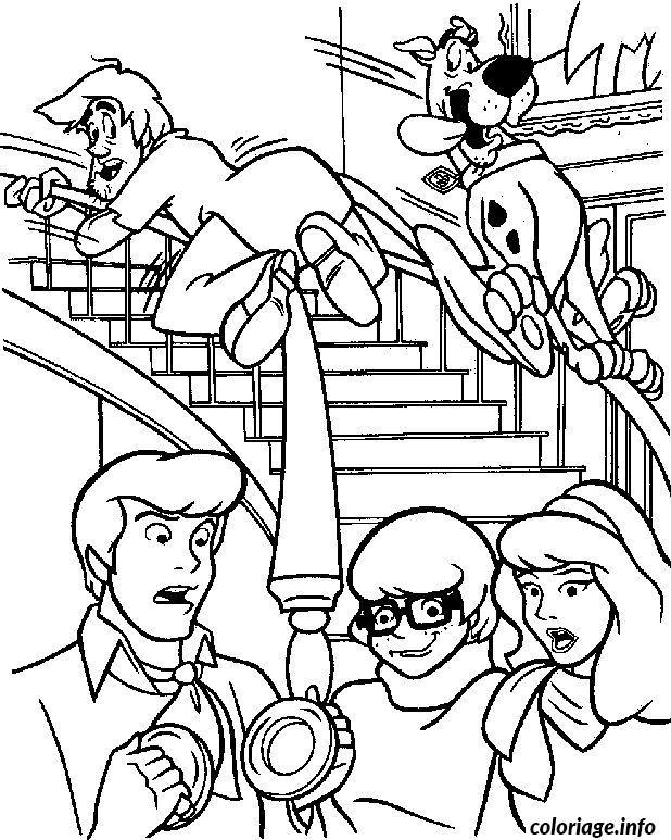 Coloriage sammy et scoubidou sur une rampe d escalier - Dessin de scoubidou a imprimer ...
