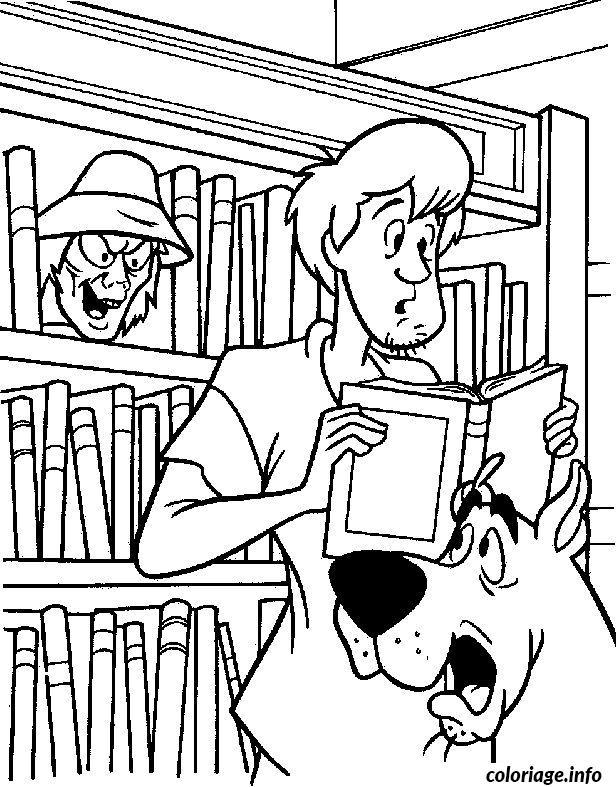 Coloriage Scoubidou Et Sammy Avec Un Livre Dessin Scooby Doo A Imprimer