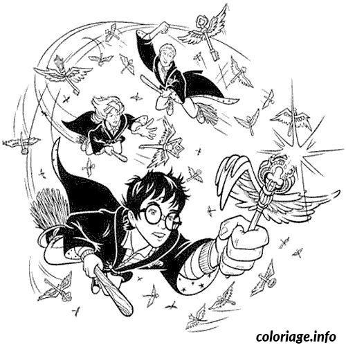 Coloriage Harry Potter Jouant Au Quidditch Jecolorie Com