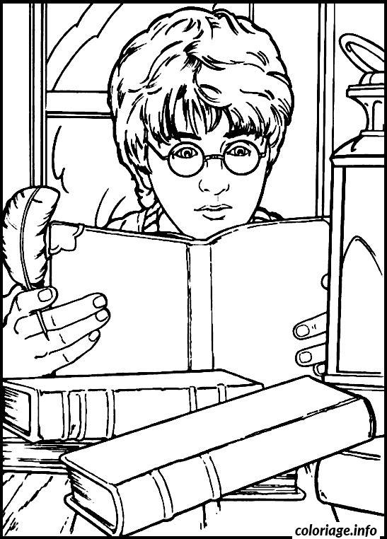 Coloriage Harry Lit Un Livre Jecoloriecom