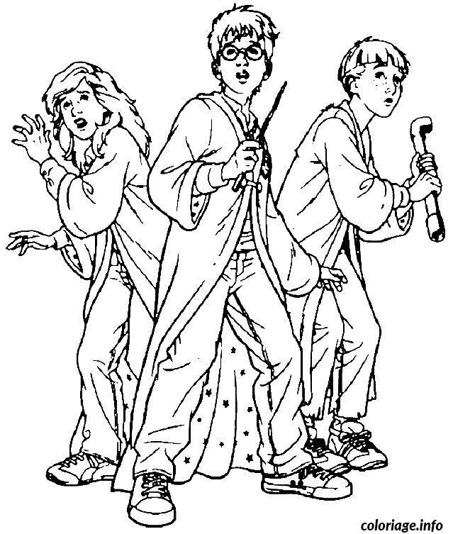 Coloriage harry hermione et ron dessin - Dessin harry potter facile ...