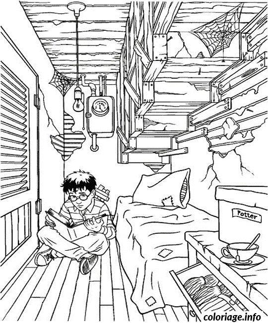 coloriage harry potter dans sa petite chambre dessin gratuit - Dessin De Chambre