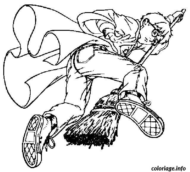 Coloriage harry sur son balai magique dessin - Coloriage balai ...