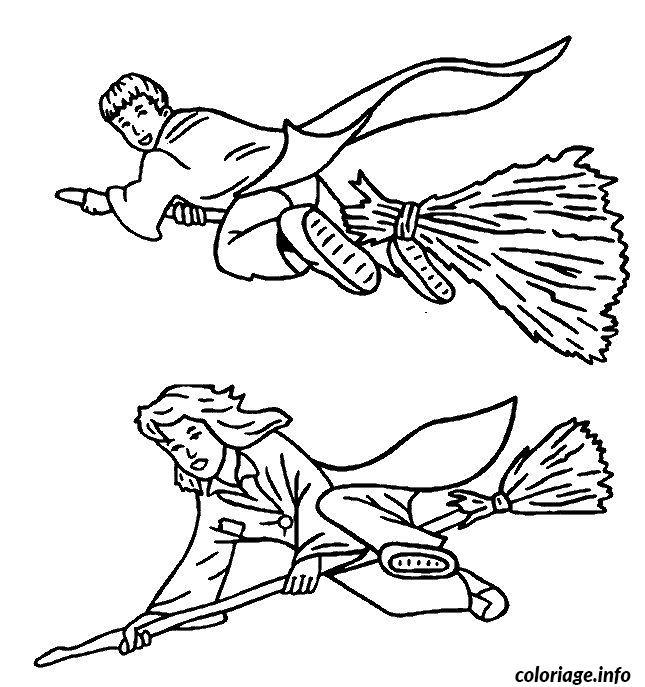 Coloriage hermione et ron sur leurs balai magique dessin - Dessin harry potter facile ...