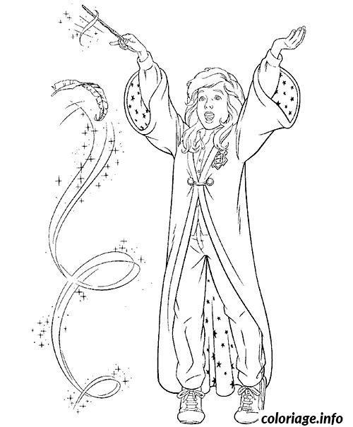 Coloriage hermione granger fait de la magie dessin - Coloriage magie ...