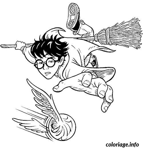Coloriage quidditch harry balai magique volant dessin - Coloriage balai ...