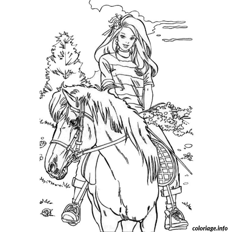 Coloriage barbie poney - Coloriage poney ...