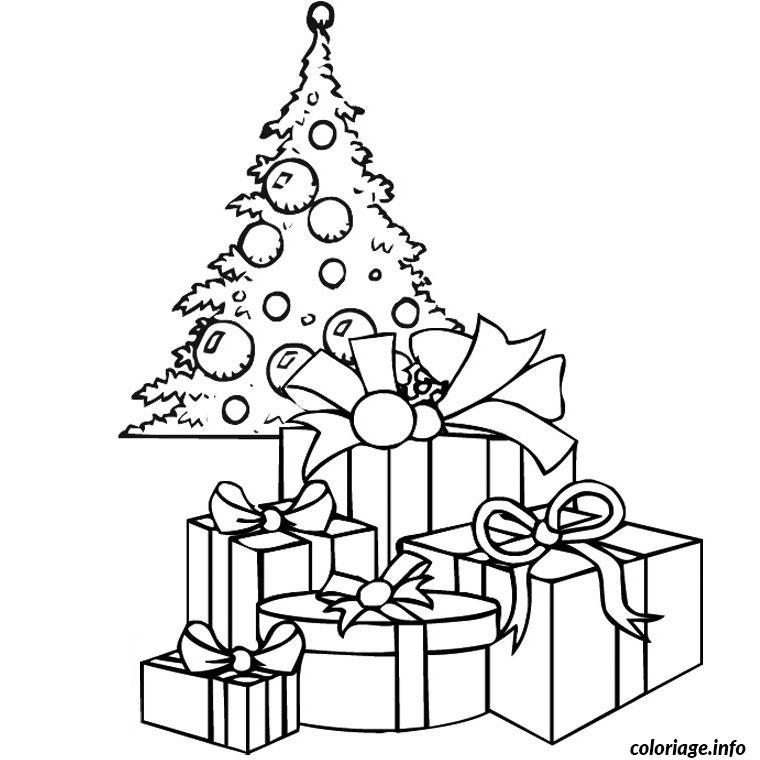 Coloriage sapin de noel avec cadeau dessin - Sapin a dessiner ...
