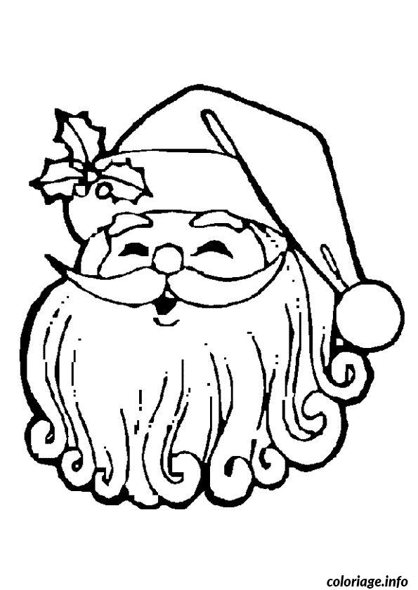 coloriage pere noel visage houx dessin. Black Bedroom Furniture Sets. Home Design Ideas