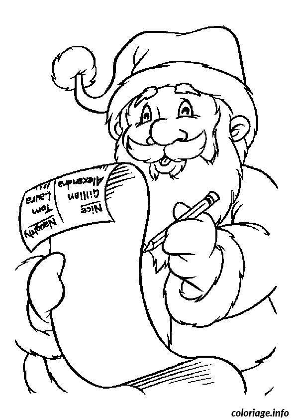 Coloriage Pere Noel Liste De Cadeaux dessin