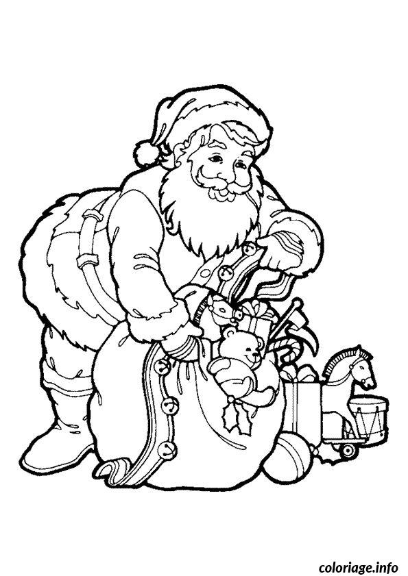 Coloriage Pere Noel Sac Cadeaux dessin