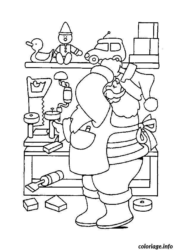Coloriage Pere Noel Travail dessin