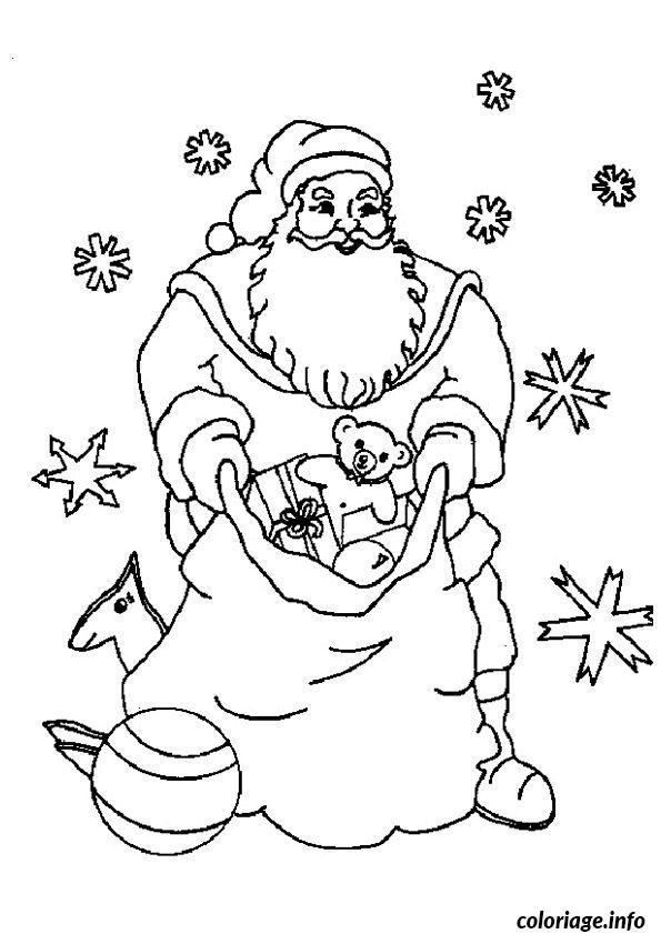 Coloriage Pere Noel Etoiles Cadeaux Dessin