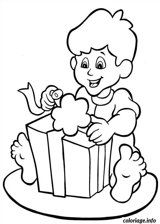 Coloriage la joie ouvrir cadeau noel Dessin à imprimer