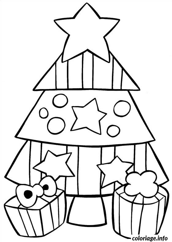 Coloriage Sapin De Noel Simple Facile Dessin