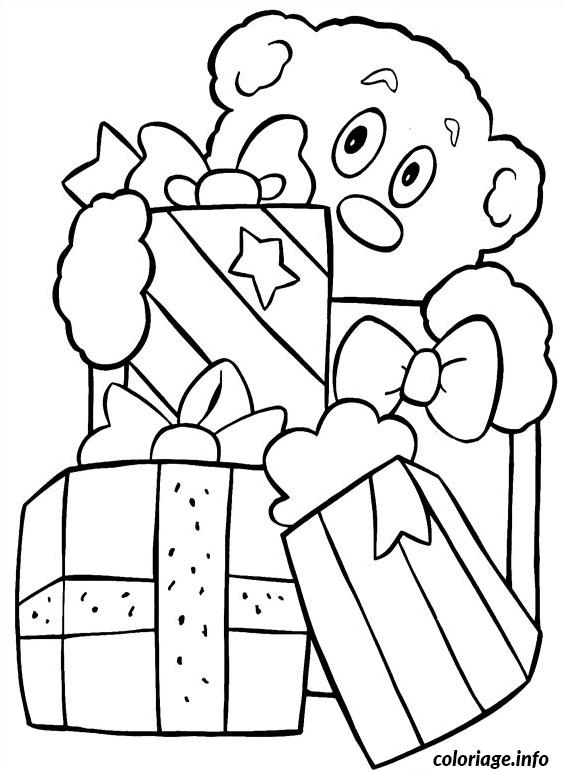 Coloriage cadeaux ourson de noel - Coloriage cadeau de noel ...