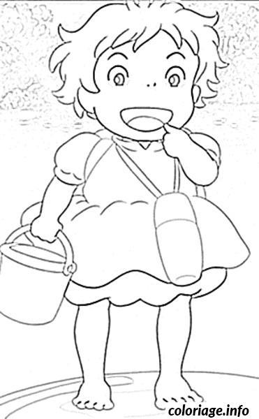 Dessin ponyo a la plage Coloriage Gratuit à Imprimer
