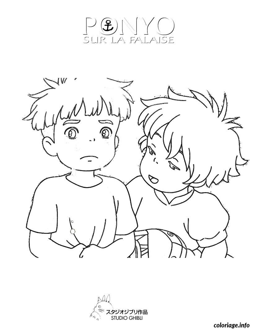 Coloriage ponyo sosuke dessin for Ponyo coloring pages