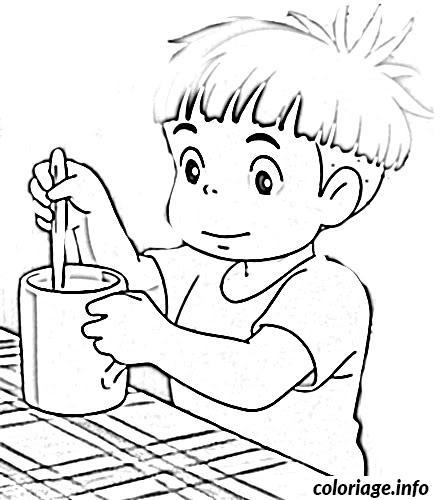 Dessin ponyo avec un cafe Coloriage Gratuit à Imprimer