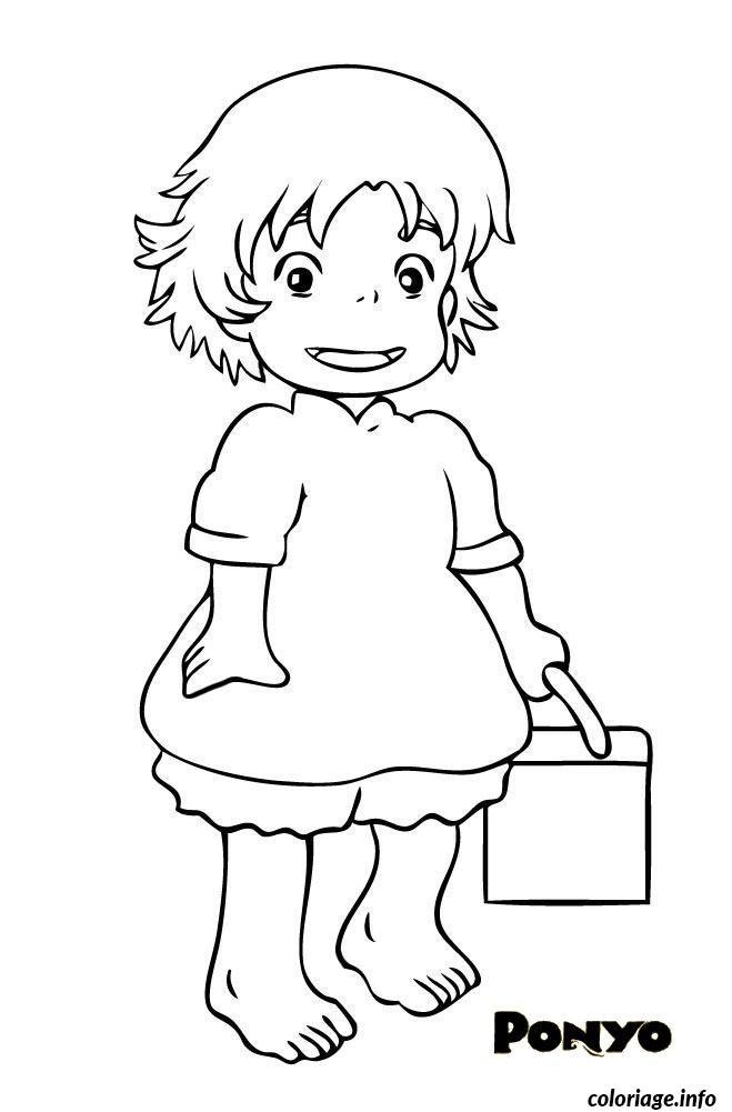 Dessin ponyo petite fille Coloriage Gratuit à Imprimer