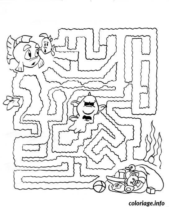 dessin labyrinthe jeux nemo poisson coloriage gratuit imprimer