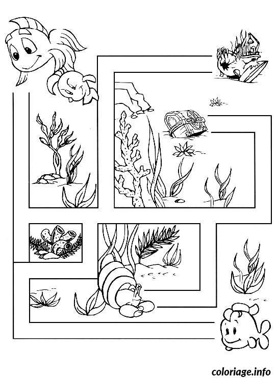 labyrinthe jeux poisson coloriage 1874