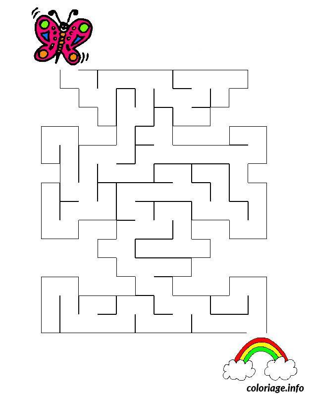 Coloriage labyrinthe jeux papillon - Jeux labyrinthe a imprimer ...