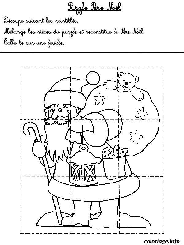 Coloriage jeux puzzle pere noel 1 - JeColorie.com