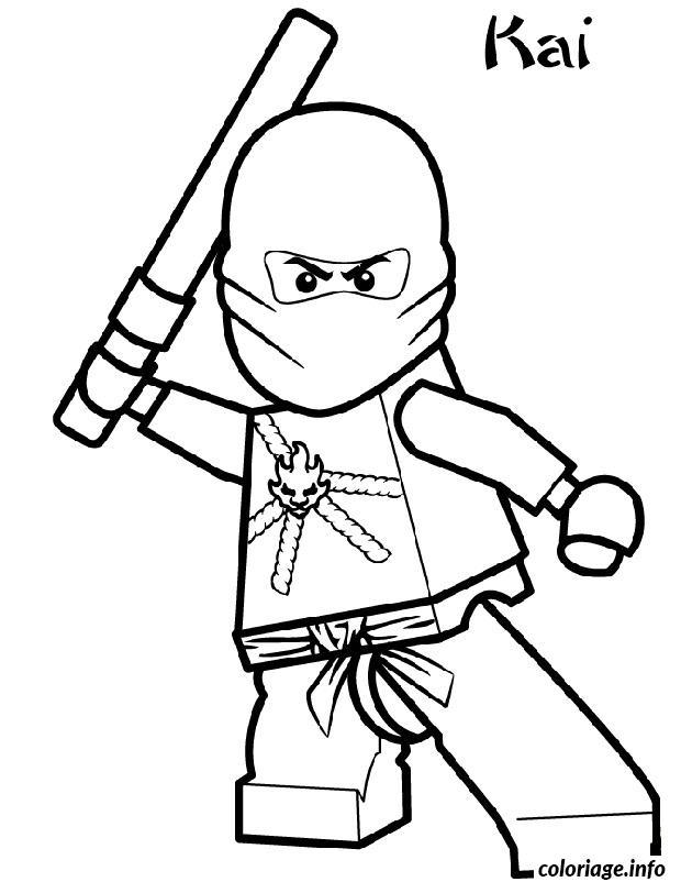 Dessin ninjago kai ninja maitre feu Coloriage Gratuit à Imprimer