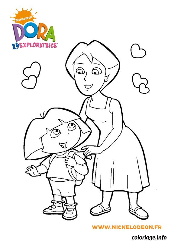 Coloriage dora avec sa maman dessin - Coloriage dora gratuit a imprimer ...