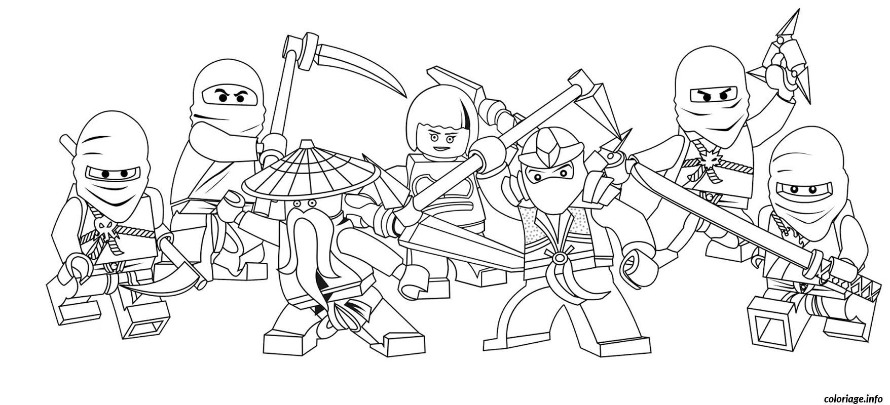 Coloriage ninjago equipe complete lego dessin dessin - Ninjago a imprimer ...