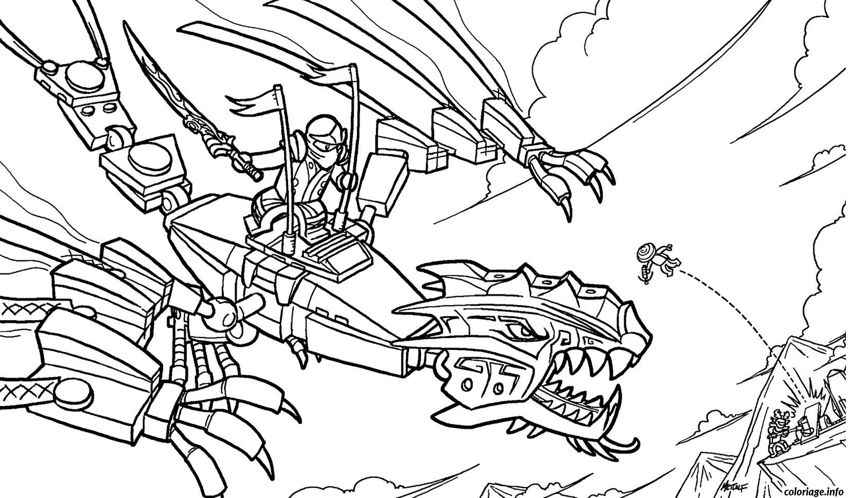Coloriage Ninjago Sur Un Dragon Ninja Dessin  Imprimer