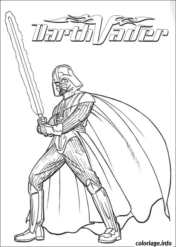 Dessin star wars dark vador sabre laser Coloriage Gratuit à Imprimer