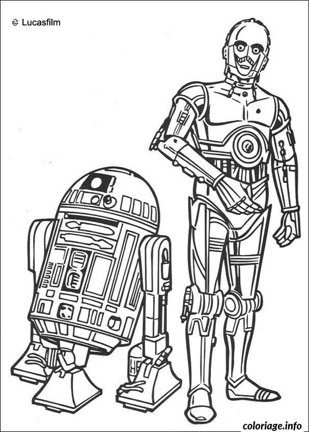Dessin star wars r2 d2 et c3PO Coloriage Gratuit à Imprimer