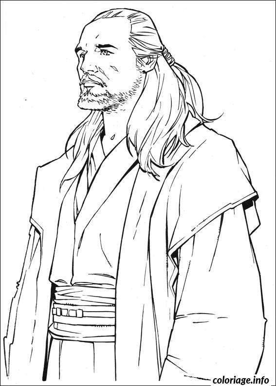 Dessin star wars Qui Gon Jin Coloriage Gratuit à Imprimer