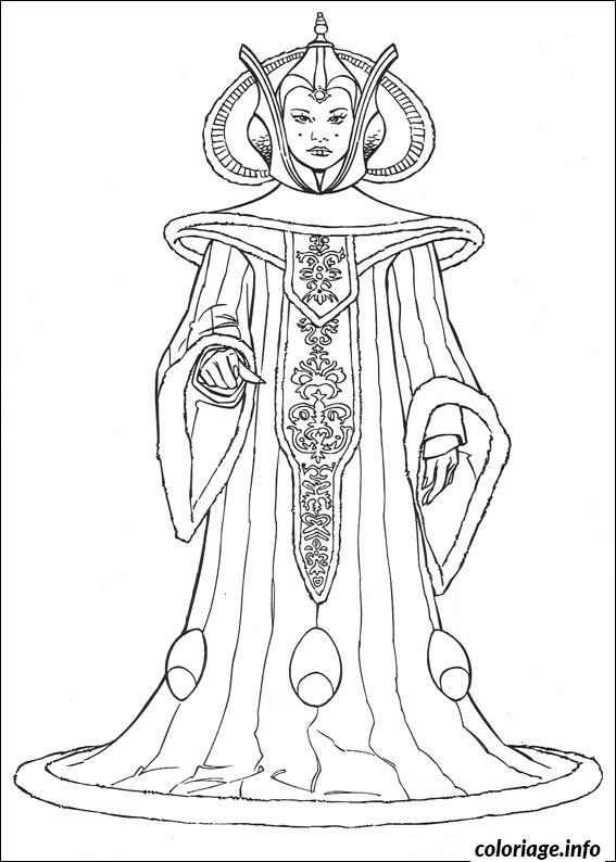 Dessin star wars la reine amidala de naboo Coloriage Gratuit à Imprimer