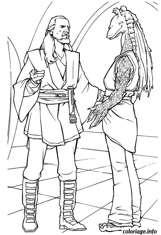 Coloriage Qui Gan De Star Wars Discute Avec Jarjar dessin