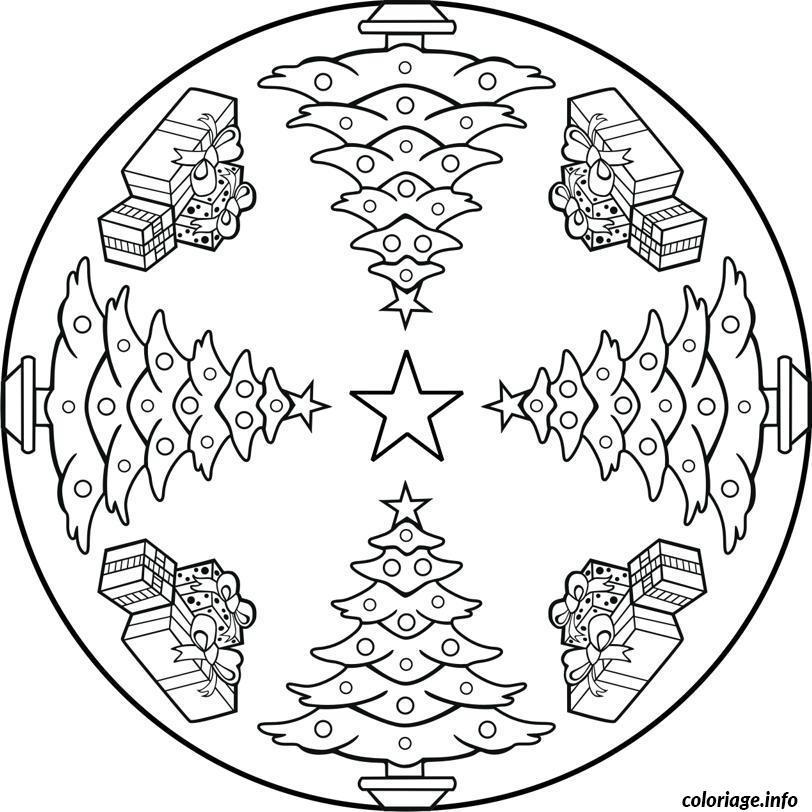 Coloriage Mandala Sapin De Noel Jecolorie Com