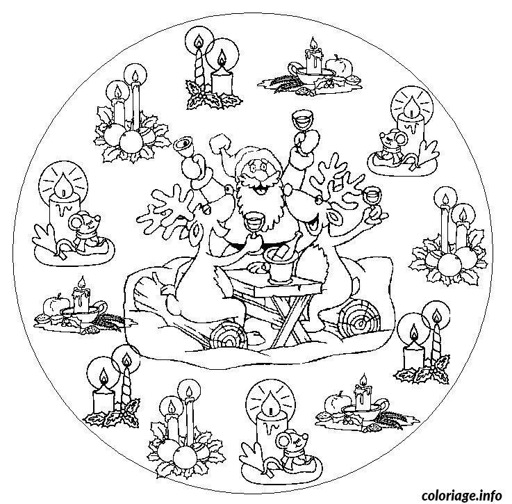Coloriage madala famille noel dessin - Coloriage de mandala de noel ...