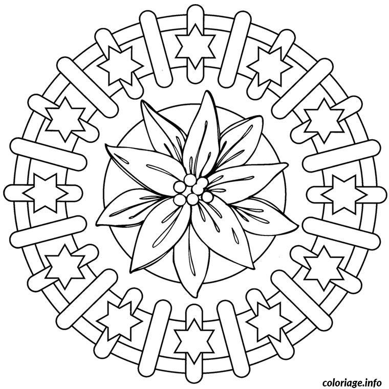 Dessin mandala noel etoile Coloriage Gratuit à Imprimer
