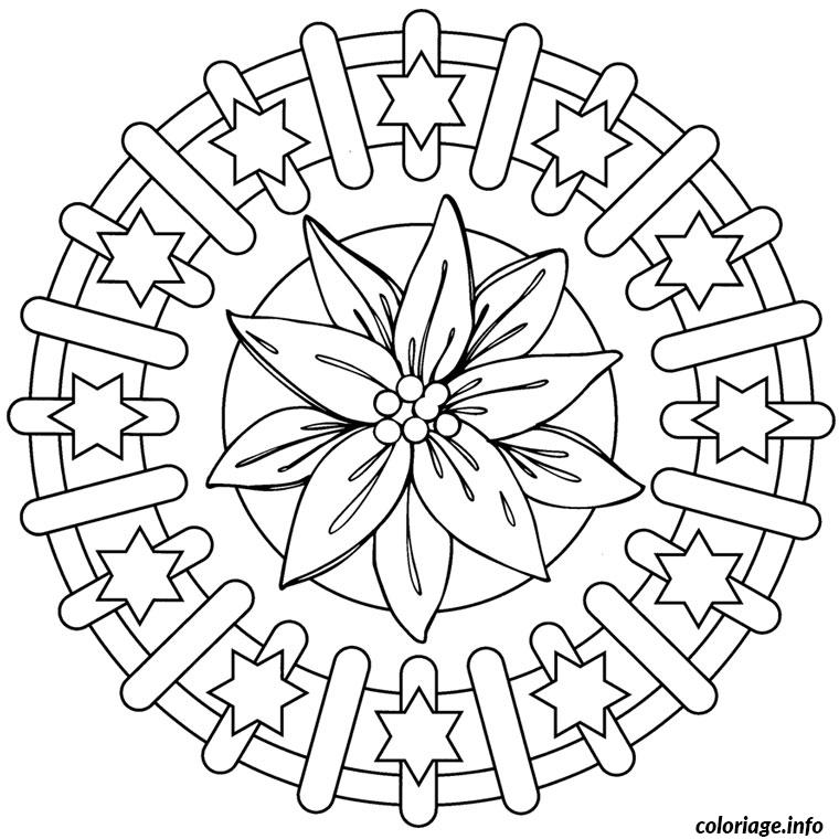 Coloriage De Mandala Etoile.Coloriage Mandala Noel Etoile Jecolorie Com