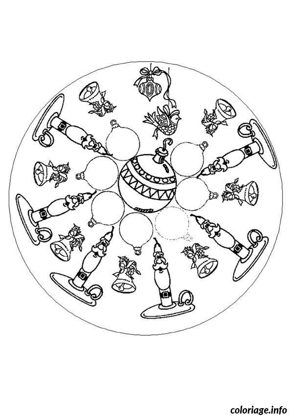 Coloriage mandala pere noel cloche de noel dessin - Coloriage de mandala de noel ...