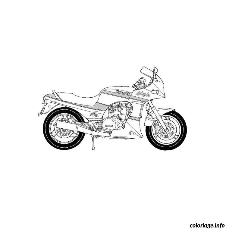 Dessin moto kawasaki Coloriage Gratuit à Imprimer